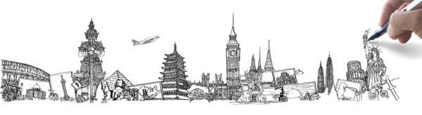 zdjęcie ilustracyjne, na białym tle szkice budynków i przedmiotów, które są symbolami krajów i miast, jak np. statua wolności, wieża eiflla czy meczet