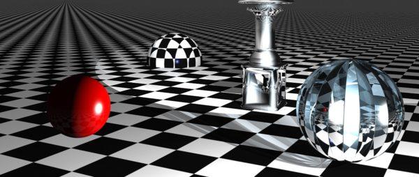 przedmioty i figury geometryczne na szachownicy
